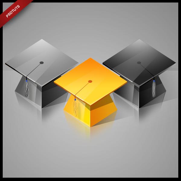 Create a High-Gloss Graduation Hat Icon Design