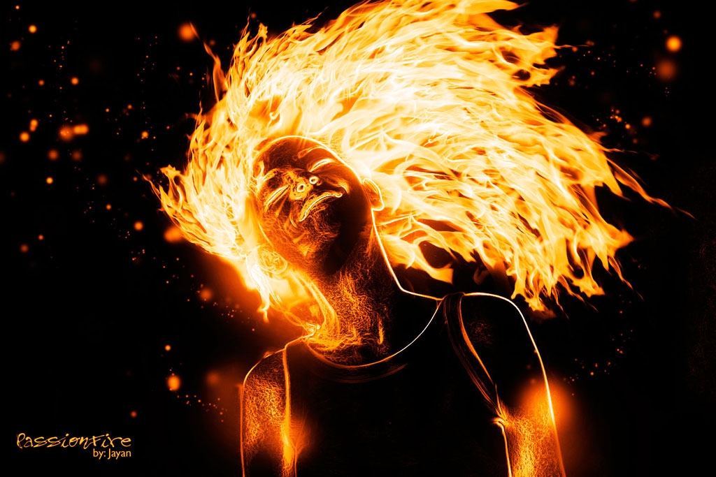 Photoshop dersleri: Ateşli manipulasyon