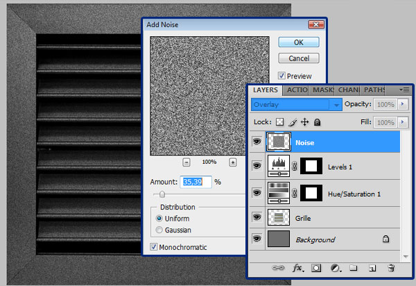 Adding noise in Photoshop