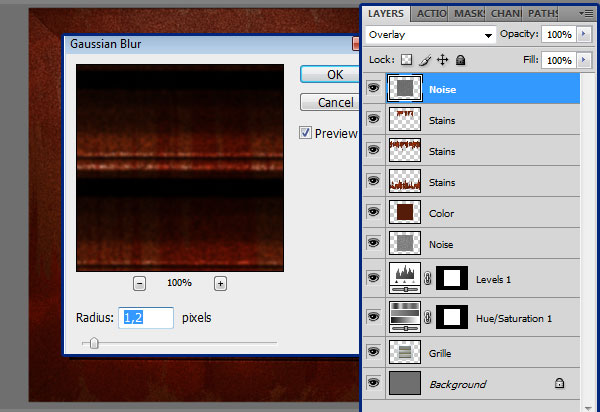 How to Create a Rusty Texture in Photoshop Glaussian-blur