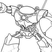 Create Line Art for a Medieval Robot Character Illustration